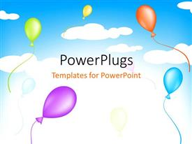 PowerPlugs: PowerPoint template with a number of balloons with a sky in the background