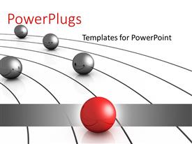 PowerPlugs: PowerPoint template with a number of balls being lead by a red one and place for text