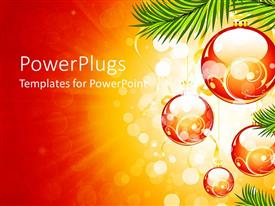PowerPoint template displaying a number of balls creating a Christmas background in orange shade