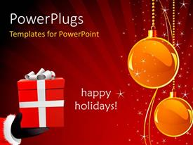 PowerPoint template displaying a number of balls with a gift hamper and the words of happy holidays