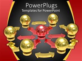 PowerPoint template displaying a number of balls of golden color with a red one in the center