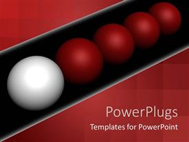 PowerPoint template displaying a number of balls lead by a different colored ball