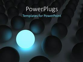 PowerPoint template displaying a number of balls with one being lit