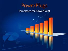 PowerPlugs: PowerPoint template with a number of bars creating the growth graph with bluish background
