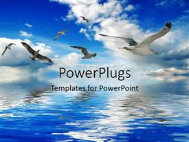 PowerPoint template displaying a number of birds flying over the sea