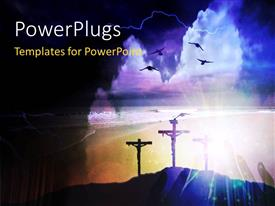 PowerPlugs: PowerPoint template with a number of birds with a number of crosses