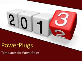 PowerPoint template displaying a number of blocks with showing the year 2013