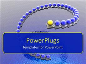 PowerPlugs: PowerPoint template with a number of blue balls with a yellow ball in front