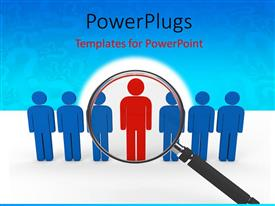 PowerPoint template displaying a number of bluish figures with a reddish one in middle