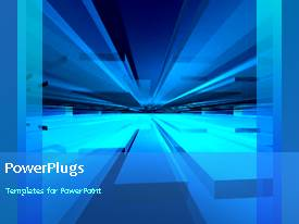 PowerPlugs: PowerPoint template with a number of bluish lines in the background with a bullet point