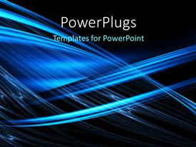 PowerPlugs: PowerPoint template with a number of bluish lines with blackish background