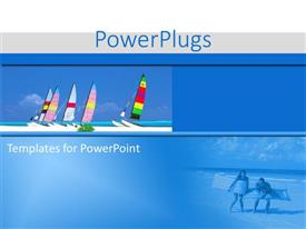 PowerPoint template displaying a number of boats with bluish background