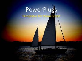 PowerPlugs: PowerPoint template with a number of boats with sunset in the background