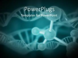 PowerPlugs: PowerPoint template with a number of bonds with DNA structure and greenish background
