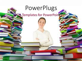 PowerPoint template displaying a number of books above one another with a girl