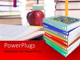 PowerPlugs: PowerPoint template with a number of books with an apple in the background