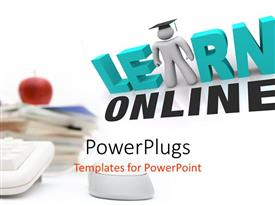 PowerPlugs: PowerPoint template with a number of books and an apple in the background