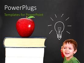 PowerPlugs: PowerPoint template with a number of books and an apple with a boy
