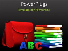 PowerPlugs: PowerPoint template with a number of books with a bag and alphabets in front