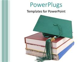 PowerPlugs: PowerPoint template with a number of books with a graduation cap