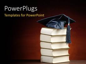 PowerPoint template displaying a number of books and a graduation cap