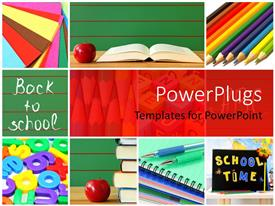 PowerPlugs: PowerPoint template with a number of books and pens with an apple and reddish background