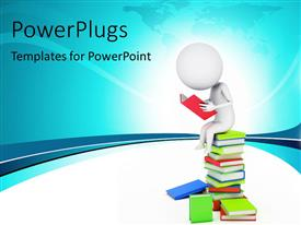 PowerPlugs: PowerPoint template with a number of books and a person reading one