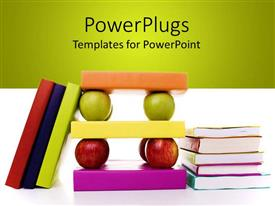 PowerPoint template displaying a number of books together along with apples