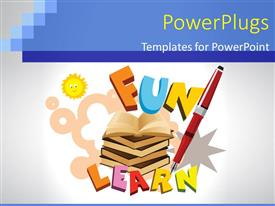 PowerPoint template displaying a number of books with the word fun and learn