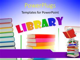 PowerPoint template displaying a number of books with the word library