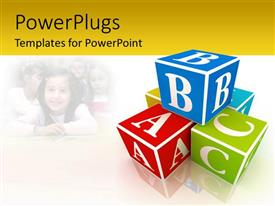 PowerPlugs: PowerPoint template with a number of boxes with alphabets and white background