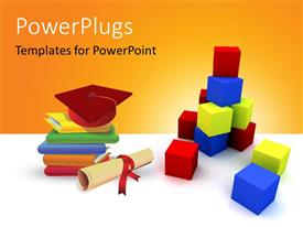 PowerPlugs: PowerPoint template with a number of boxes and a graduation degree with a cap