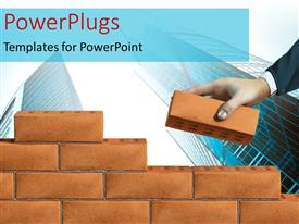 PowerPlugs: PowerPoint template with a number of bricks creating a wall with skyscrapers in background