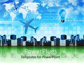PowerPlugs: PowerPoint template with a number of buildings with airplanes flying in the air