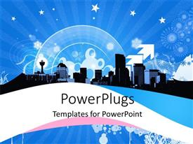 PowerPoint template displaying a number of buildings with bluish background