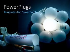 PowerPlugs: PowerPoint template with a number of bulbs glowing in the dark