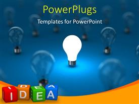 Powerpoint template 3d black chess king piece encircled by blue powerplugs powerpoint template with a number of bulbs with a glowing one toneelgroepblik Choice Image