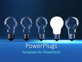 PowerPlugs: PowerPoint template with a  number of bulbs in a line with a lit one