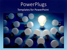 PowerPlugs: PowerPoint template with a number of bulbs with only one bulb connected to electricity