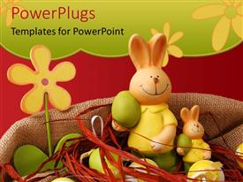 PowerPlugs: PowerPoint template with a number of bunnies together with flowers in the background