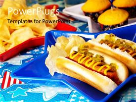PowerPlugs: PowerPoint template with a number of burgers with bluish a background and place for text