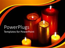 PowerPoint template displaying a number of burning candles with black background