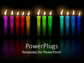 PowerPoint template displaying a number of burning candles with blackish background