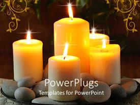 PowerPlugs: PowerPoint template with a number of burning candles with floral background