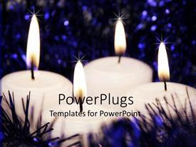 PowerPlugs: PowerPoint template with a number of burning candles with lights in the background