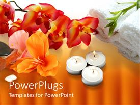 PowerPlugs: PowerPoint template with a number of burning candles and a whole lot of flowers