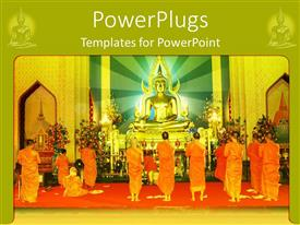 PowerPoint template displaying a number of bushists praying in a tample