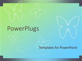 PowerPoint template displaying a number of butterflies with the bluish background