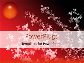 PowerPlugs: PowerPoint template with a number of butterflies with red background