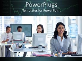 PowerPlugs: PowerPoint template with a number of call center worker smiling